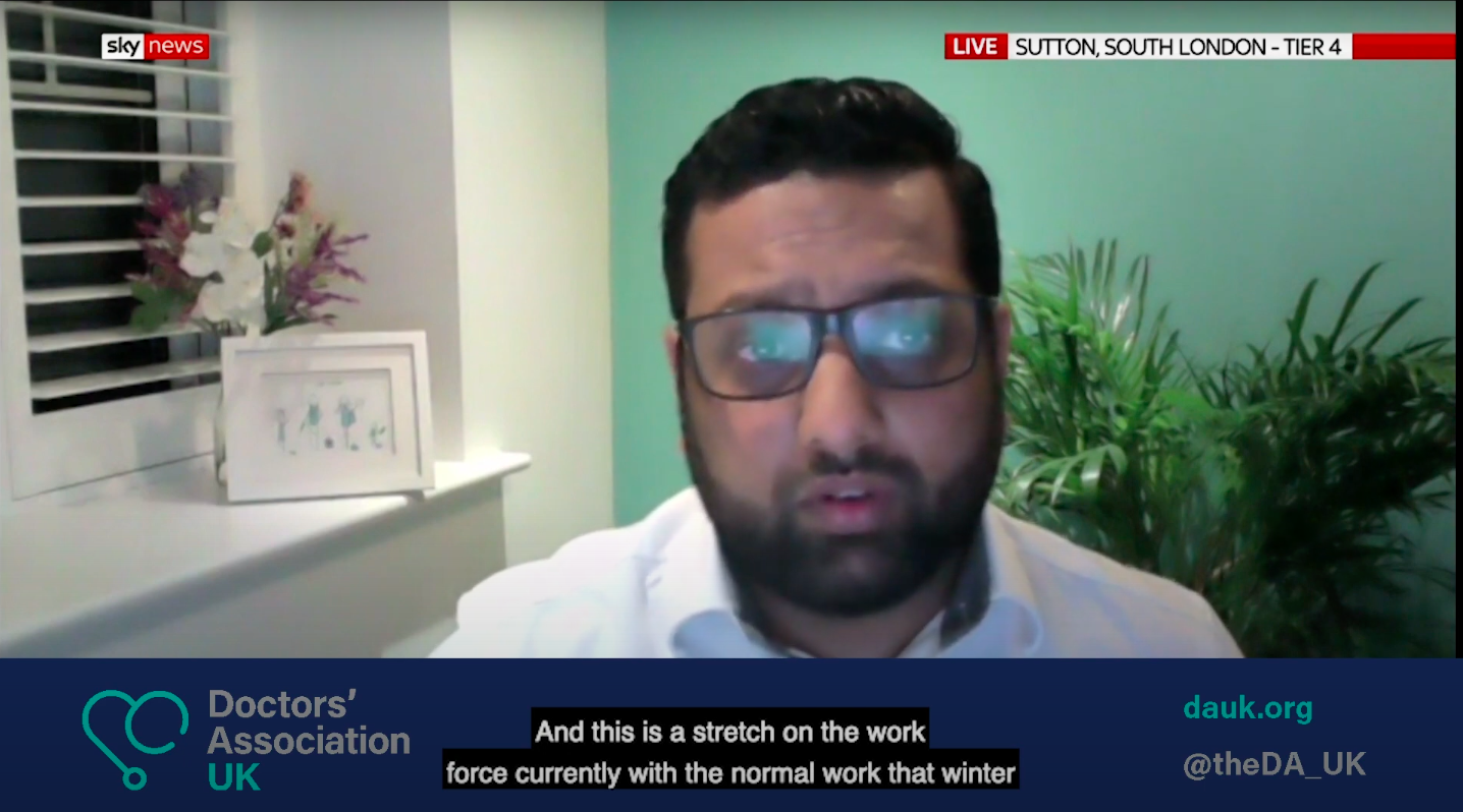 DAUK on Sky News: Dr Vinesh Patel speaks about challenges facing the mass vaccine rollout in primary care