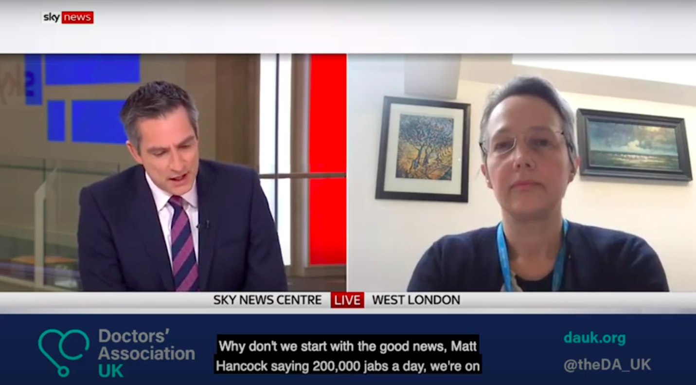 DAUK on Sky News: Dr Jenny Vaughan describes need for improved government support for those asked to self-isolate