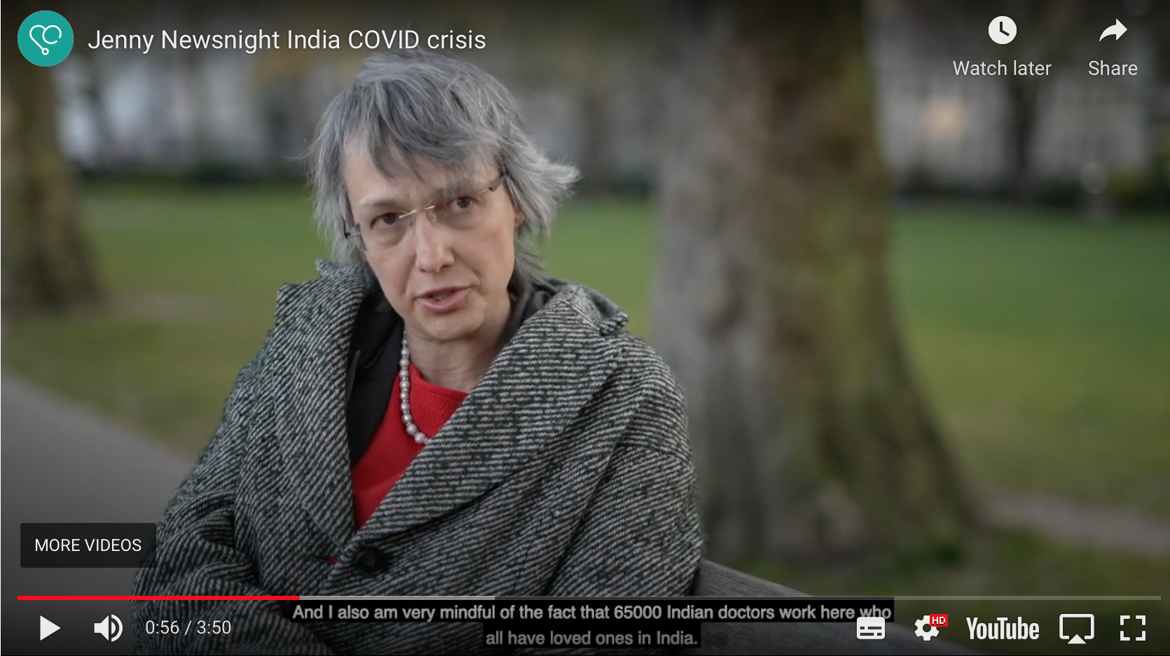 Dr Jenny Vaughan on BBC's Newsnight on the COVID-19 crisis in India