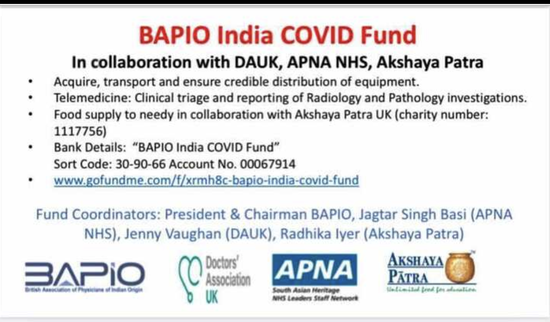 DAUK supports BAPIO's India COVID Fund
